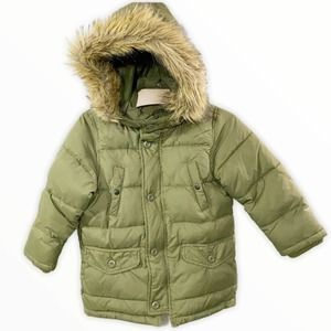 Baby Gap Olive Green Puffer Coat w/ Faux Fur Trim